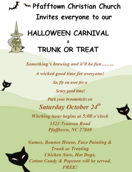 Trunk or Treat Halloween October 24 2015 Pfafftown Christian Church North Carolina Disciples of Christ
